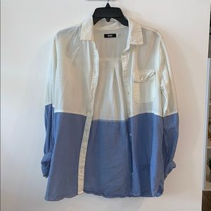 Blue and white button down